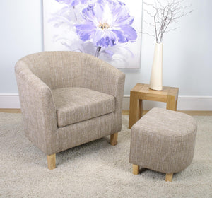 Tub Chair and Stool Tweed Effect Beige Fabric Armchair-Tub Chairs fabric bucket-shankar-GoFurn Furniture Store Kent