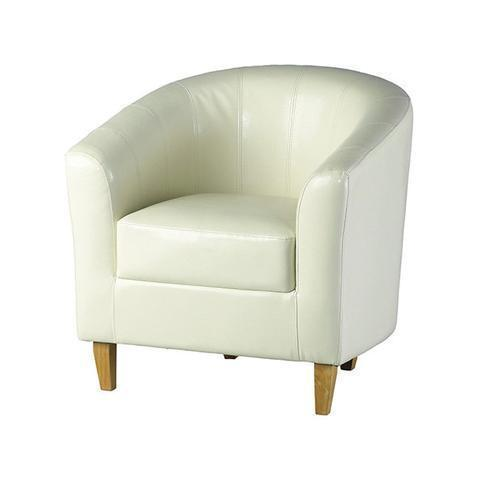 Tub Chair Tempo in Cream-Tub Chairs leather match bucket-Seconique-GoFurn Furniture Store Kent