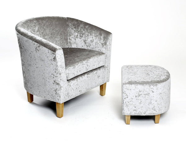 Tub Chair and Stool Silver Crushed Velvet Armchair-Tub Chairs velvet bucket armchair-shankar-GoFurn Furniture Store Kent