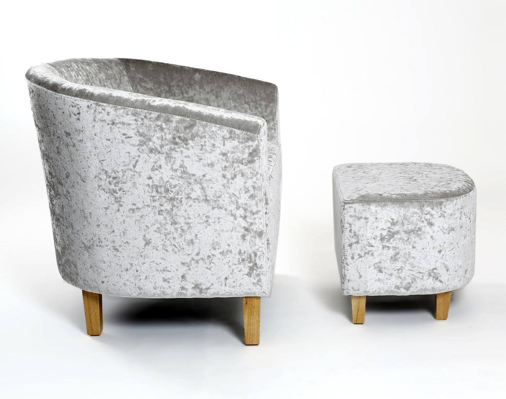 Tub Chair and Stool Silver Crushed Velvet Armchair – GoFurn