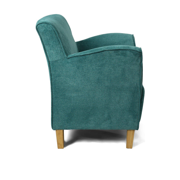 Varna Tub Chair Armchair in Teal Blue Fabric-teal blue tub chairs armchairs-shankar-GoFurn Furniture Store Kent