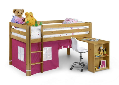 Wendy Sleeper Solid Antique Pine/Pink Bed-Childrens Mid Sleeper Beds-Julian Bowen-GoFurn Furniture Store Kent