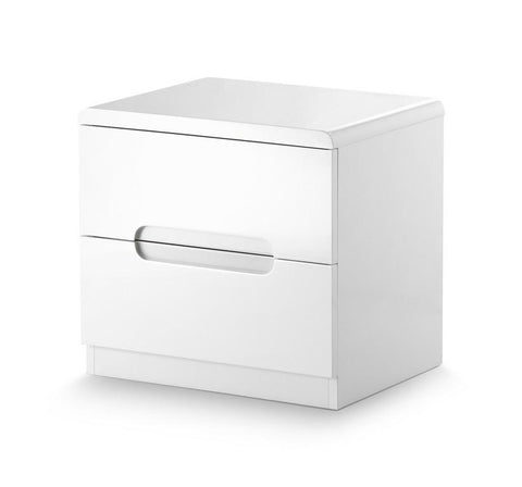Manhattan White Gloss 2 Drawer Bedside Cabinet-White Gloss Bedside Cabinet-Julian Bowen-GoFurn Furniture Store Kent