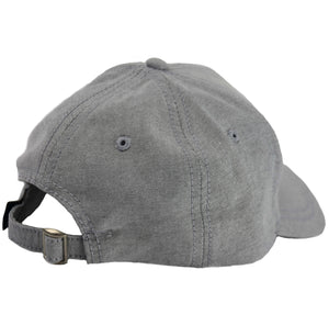 picture of the back of a light grey foreign genius dad hat with adjustable size