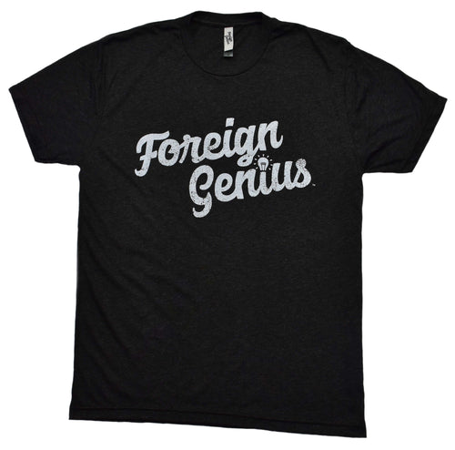 picture of a vintage black short sleeve t shirt with the foreign genius logo on the front and on the tag