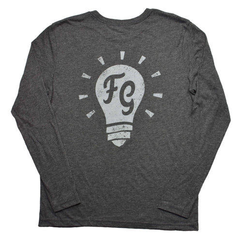 picture of the back of a vintage grey long sleeve t shirt with the foreign genius light bulb icon on the back