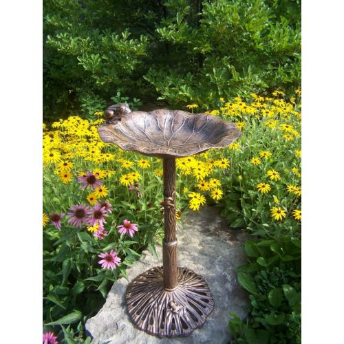 Frog Bird Bath Antique Bronze