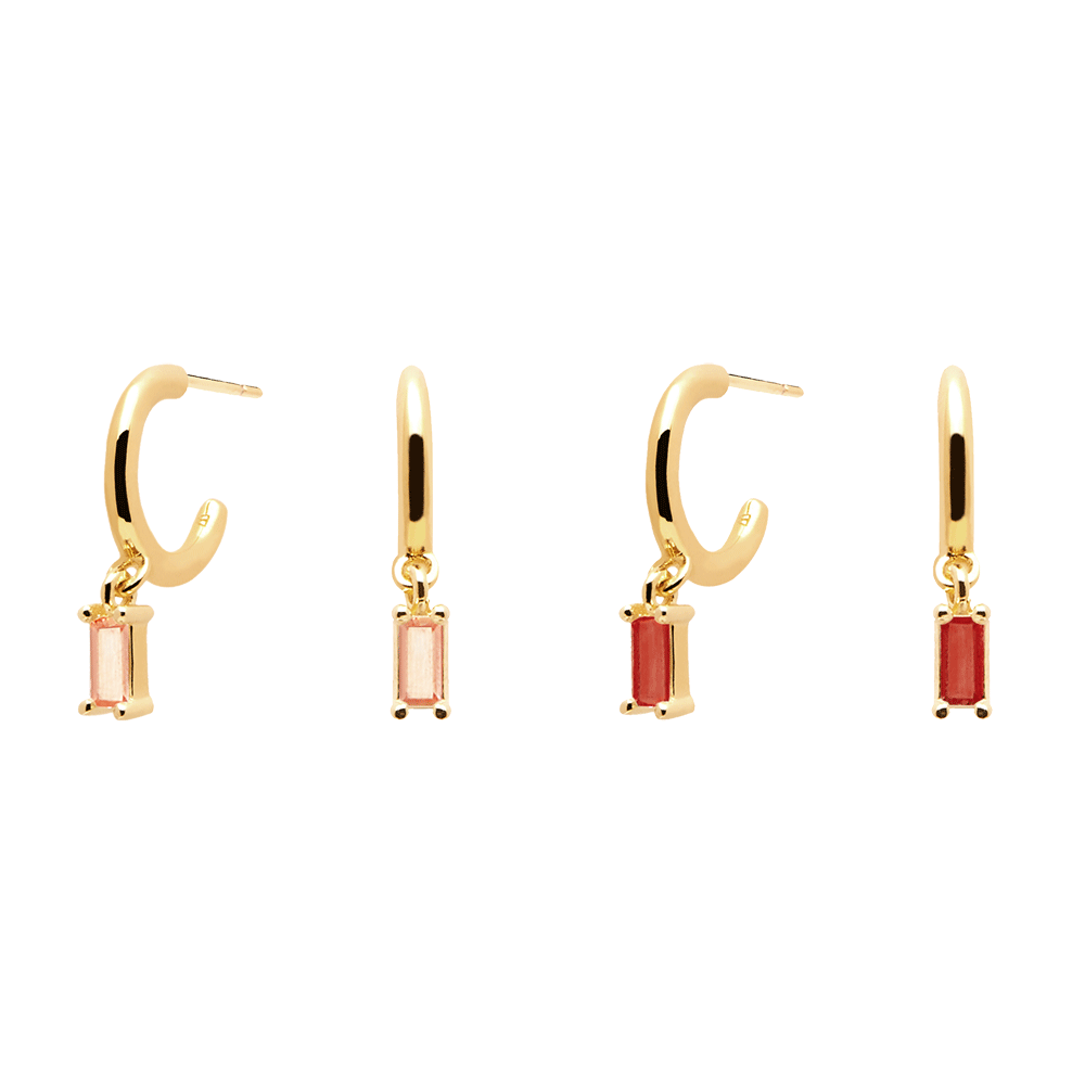 Peach&Cherry Gold Earrings Pack