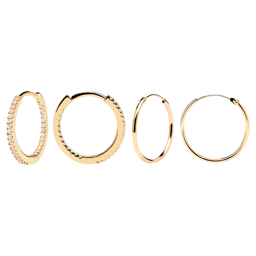 White Medium Gold Hoops Pack