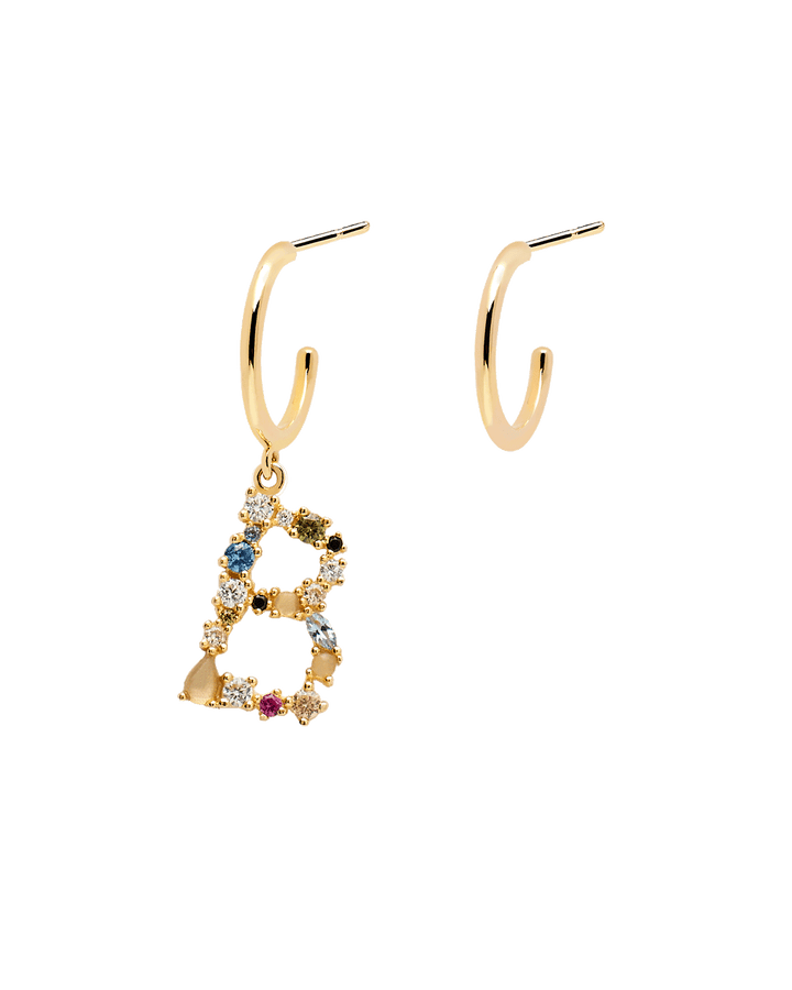 Letter Earrings - 925 Sterling Silver / 18K Gold plating