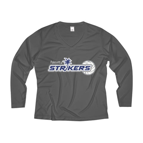 Women's Long Sleeve Performance V-neck Tee-Palmetto Strikers - Sports Parent Gear