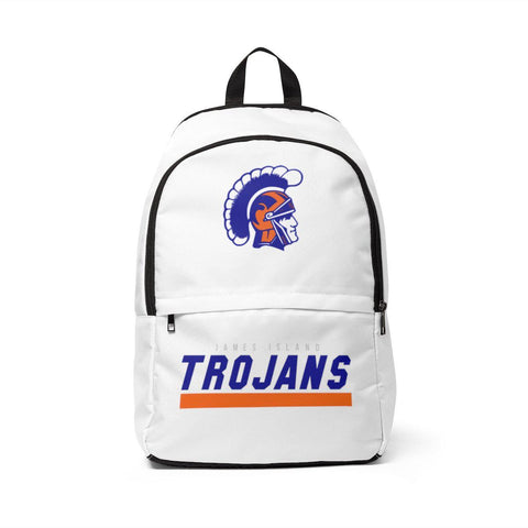 James Island Trojans Helmet Fabric Backpack (WHITE) - Sports Parent Gear