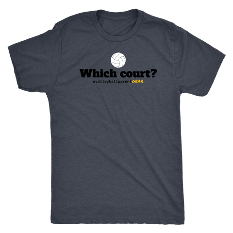 Men's T-Shirt-Triblend-Which Court? - Sports Parent Gear