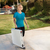 Folding Utility Table 48 in. X 24 in. - Height Adjustable (White Granite) - Sports Parent Gear