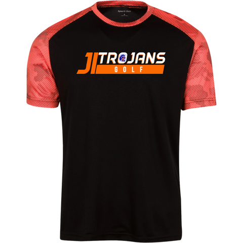 JI Trojans GOLF-Men's CamoHex Colorblock T-Shirt - Sports Parent Gear