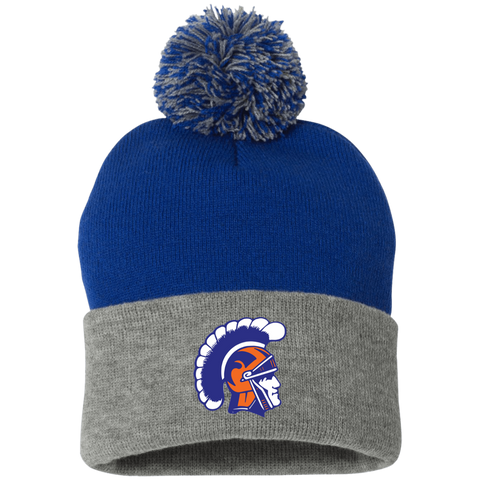 James Island Helmet-Striped Beanie with Pom - Sports Parent Gear