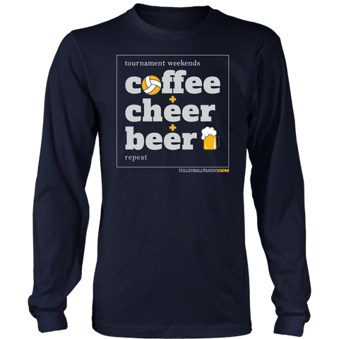 Long Sleeve T-Shirt-Coffee Cheer Beer - Sports Parent Gear