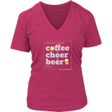 Women's T-Shirt V-Neck-Coffee Cheer Beer - Sports Parent Gear