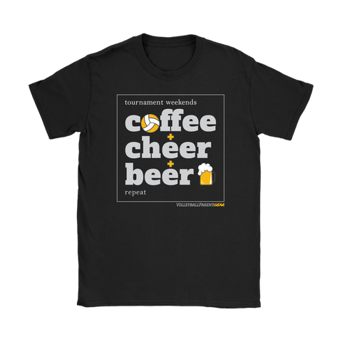 Women's T-Shirt Gildan-Coffee Cheer Beer - Sports Parent Gear