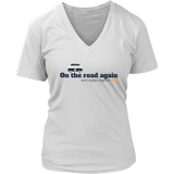 V-Neck T-Shirt For Mom-On the road again (Light Colors) - Sports Parent Gear