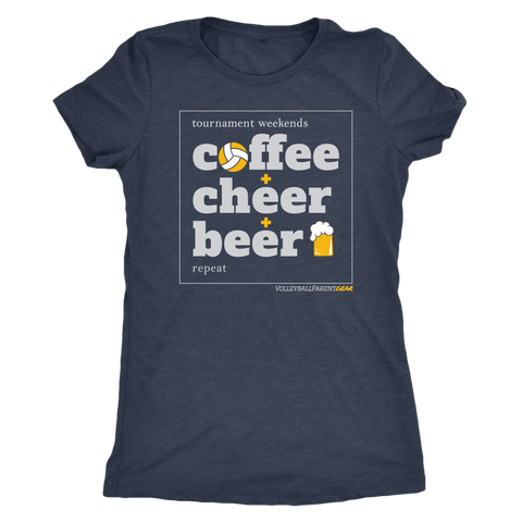 Women's T-Shirt Triblend-Coffee Cheer Beer - Sports Parent Gear