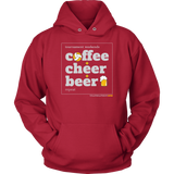 Hoodie-Coffee Cheer Beer - Sports Parent Gear