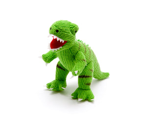 Knitted T Rex dinosaur soft toy