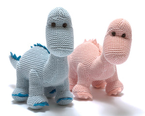 Knitted diplodocus baby dinosaur soft toy
