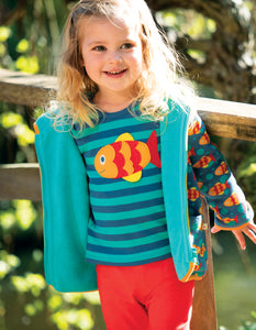 FRUGI spring Bobby applique top pacific stripe/fish