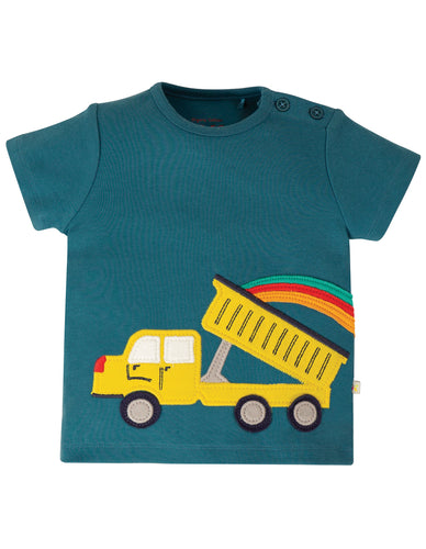 FRUGI spring scout applique top steel blue truck