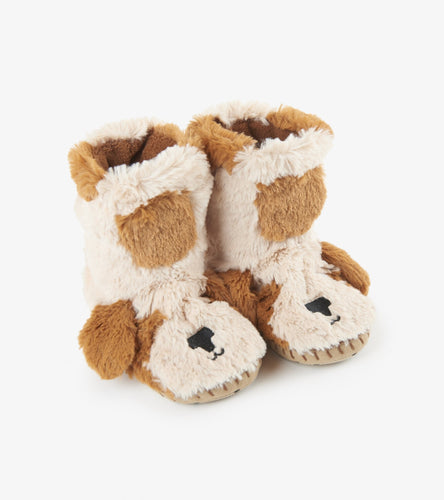 Kids fuzzy slouch slippers dog