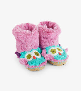 Kids fuzzy slouch slippers owl