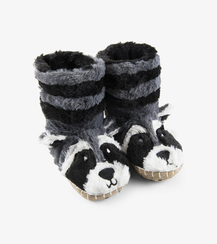 Kids fuzzy slouch slippers raccoon