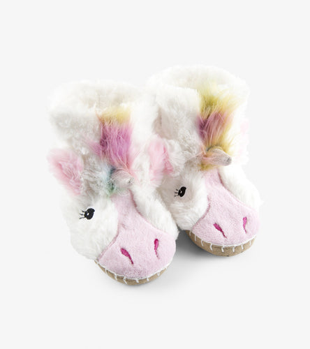 Kids fuzzy slouch slippers unicorn