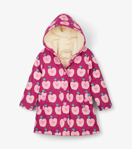 Hatley Apple orchard Sherpa lined splash jacket raincoat