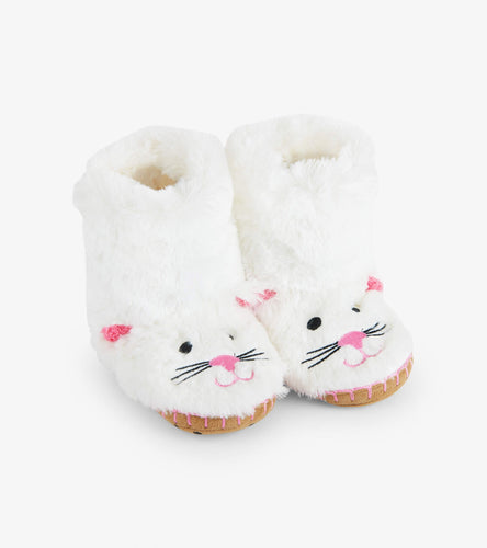 Kids fuzzy slouch slippers cat
