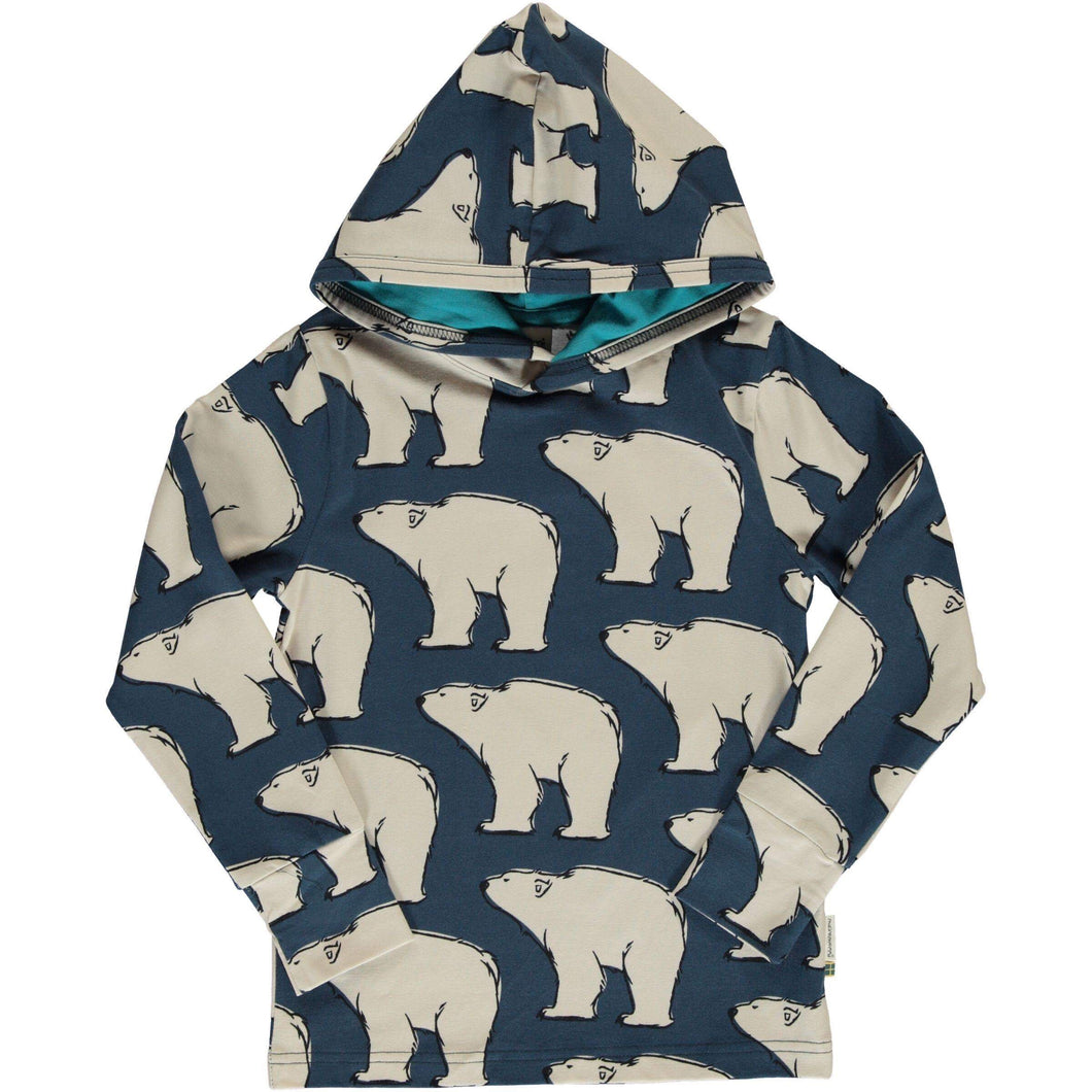 Maxomorra long sleeve hooded top polar bear