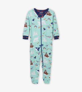 Hatley arctic friends organic cotton footed sleepsuit