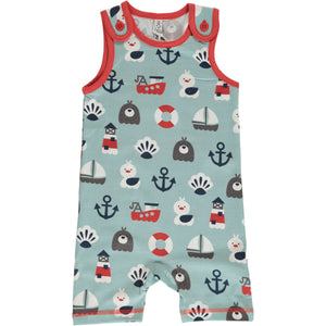 Maxomorra playsuit short blue ocean shortie
