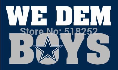 Dallas Cowboys we dem boys Flag 3x5 FT 150X90CM  Banner 100D Polyester Custom flag grommets 6038, free shipping
