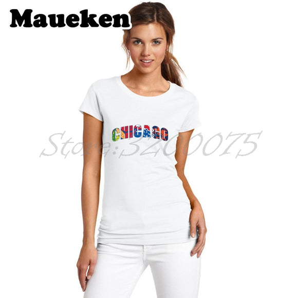 Women Chicago All Day Bears Blackhawks Cubs Combination T-Shirt Bull Lady Clothes T Shirt Short Sleeve Girl W0228013