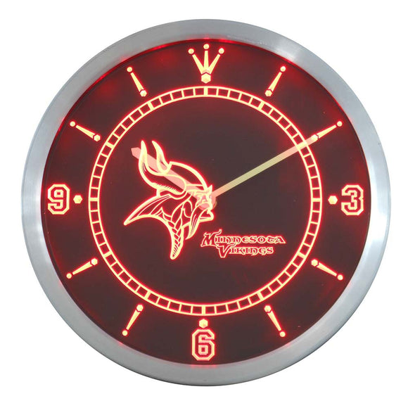 nc0508 Minnesota Vikings Neon Sign LED Wall Clock