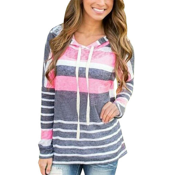 Spring Women Hoodies Tops Long Sleeve Hooded Sweatshirts Casual Harajuku Gray Pink Striped Blouse For Women