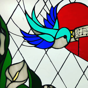 stained glass window heart swallow bird lily music diamond