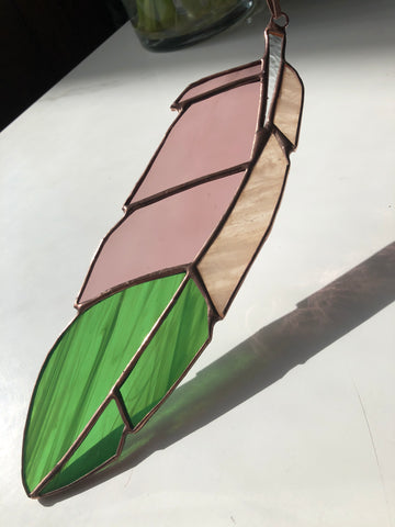 Stained Glass Feather - Green, Pink and Peach