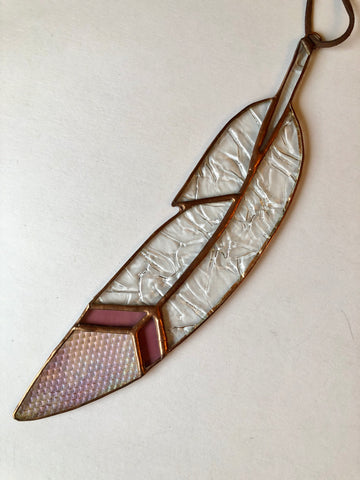 Arrowhead Feather - Iridescent, Pink, Clear