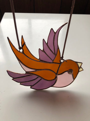 Stained Glass Swallow - Amber, Purple, Pink