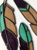 Set of Three Stained Glass Feathers