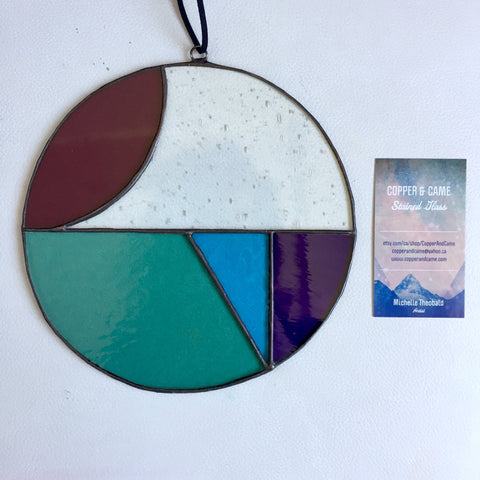 "Abstract Colour Block Round Sun Catcher ""Clear Skies"""