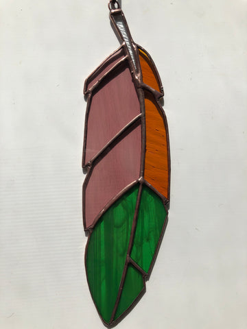 Stained Glass Feather - Green, Pink, Amber